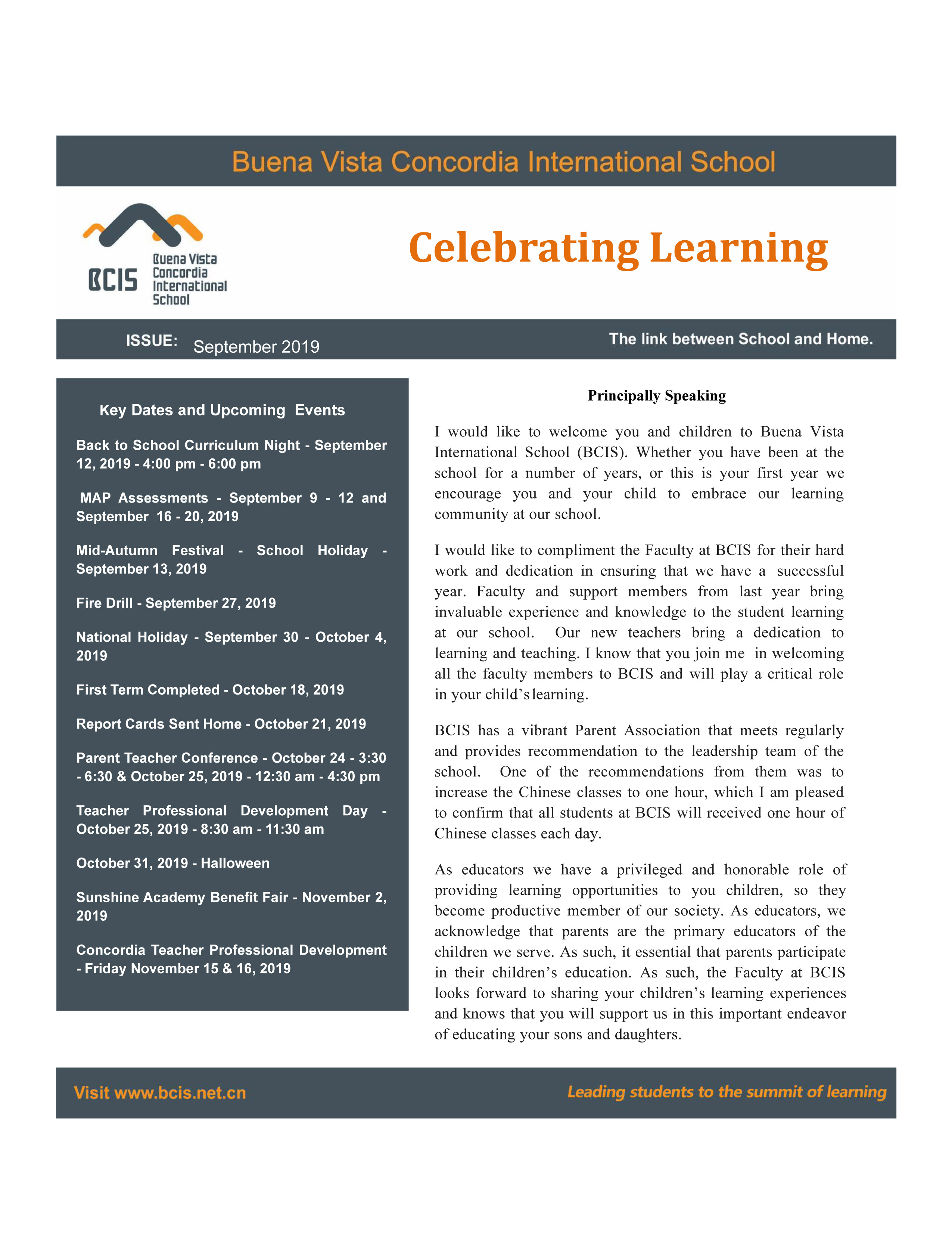BCIS Newsletters of September 2019